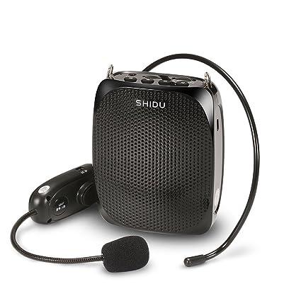 Qiyun SHIDU - Amplificador de voz inalámbrico UHF de 10 W con cómodo auricular, banda
