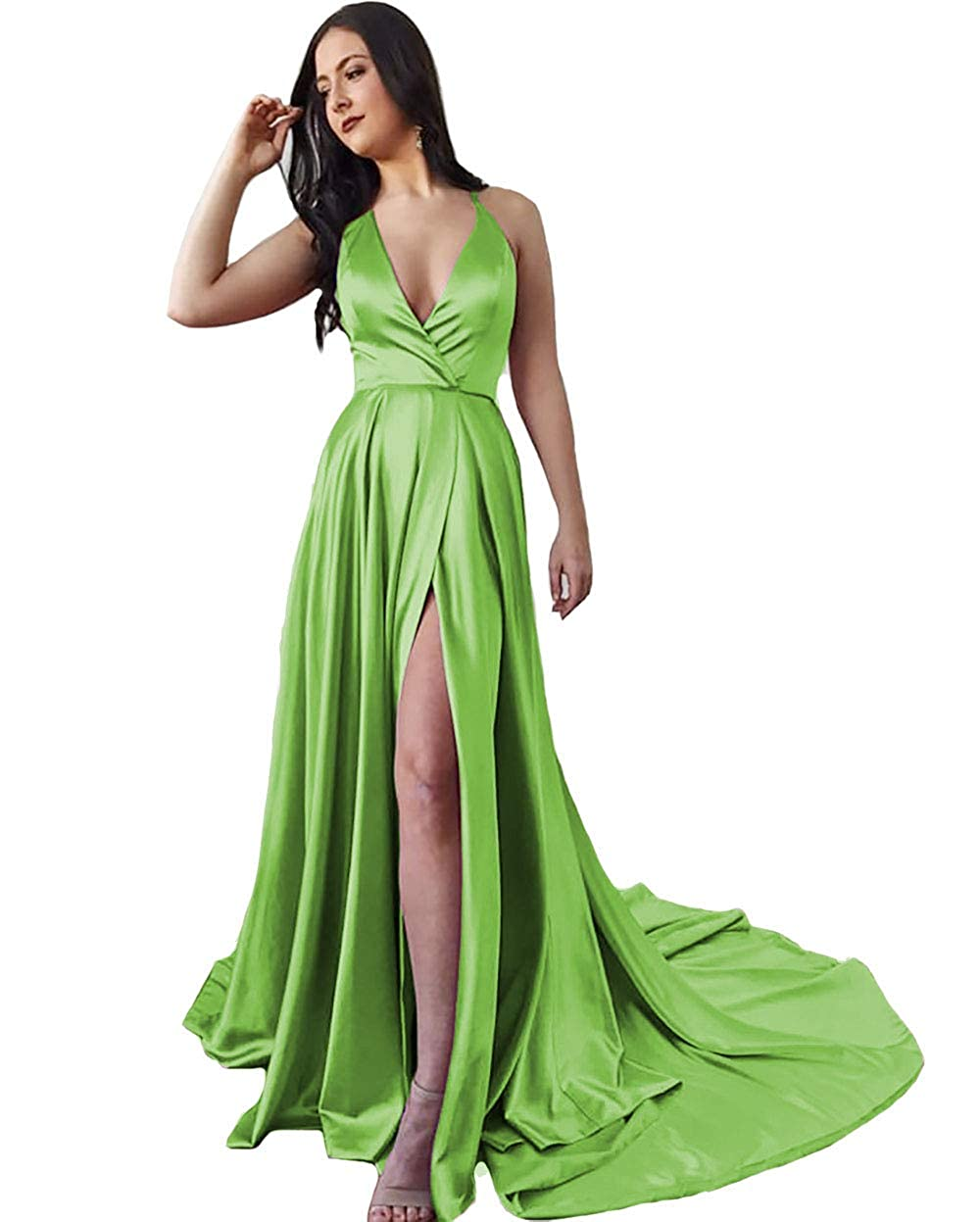 Green IVYPRECIOUS Women's Long Prom Dresses V Neck A Line with Side Split Evening Gowns