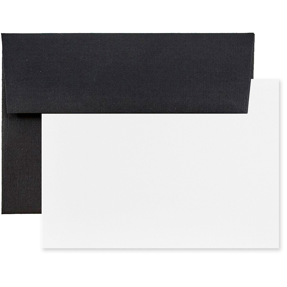 JAM Paper Personal Stationery Sets - A2 - 4 3/8'' x 5 3/4'' - Black Linen - 25/pack