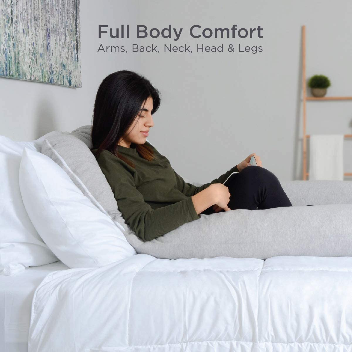 milliard u shaped total body support pillow memory foam with cool cotton breathable cover 54 inch
