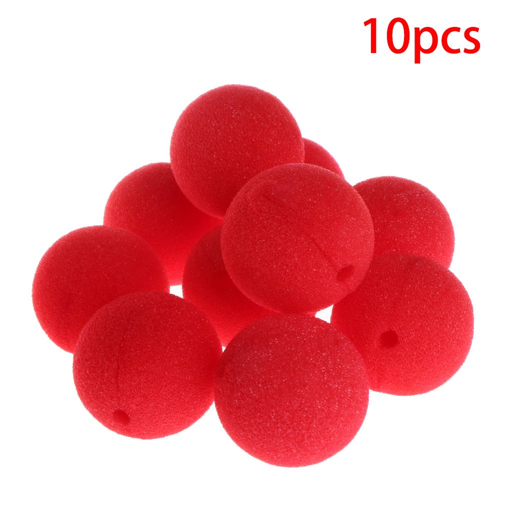 Poity 10Pieces Sponge Ball Clown Nose for Christmas Halloween Costume Party Decoration - Red