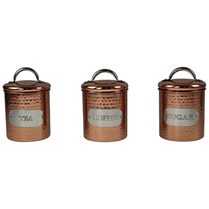 Set Of 3 Hammered Copper Design Tea Sugar Coffee Canisters