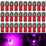 Image of AMAZENAR 30-Pack Pink Replacement Stock # 194 T10 168 2825 W5W 175 158 Bulb 5050 5 SMD LED Light ,12V Car Interior Lighting For Map Dome Lamp Trunk Dashboard Parking Lights - Best Value