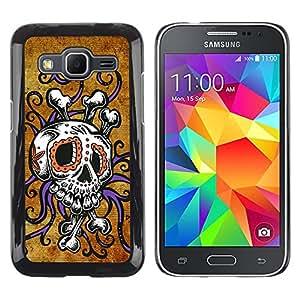 Paccase / SLIM PC / Aliminium Casa Carcasa Funda Case Cover - Crossbones Gold Rustic Skull Octopus - Samsung Galaxy Core Prime SM-G360