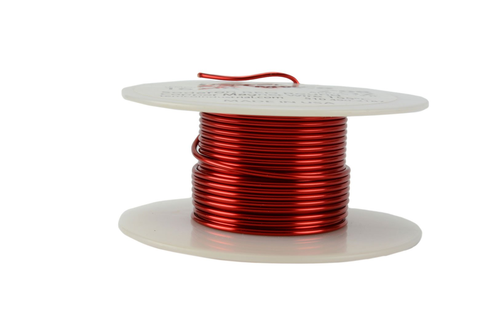 TEMCo 16 AWG Copper Magnet Wire - 2 oz 16 ft 155°C Magnetic Coil Red