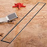 KDrain 36 Inch Linear Shower Drain Long Shower Floor Drain with Tile Insert Grate for Bathroom, Brushed 304 Stainless Steel with Adjustable Leveling Feet and Hair Strainer