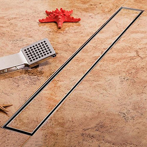 32-Inch Linear Shower Drain with Tile Insert Grate, Brushed 304 Stainless Steel Long Shower Floor Drain for Bathroom, Rectangle Floor Shower Drain with Adjustable Leveling Feet and Hair Strainer
