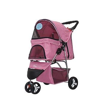 Pet trolley NAUY- Carrito para Mascotas Carro de Tres Ruedas Carro para Perro Carro Plegable para Gato y Perro Necesidades diarias (Color : Pink): ...