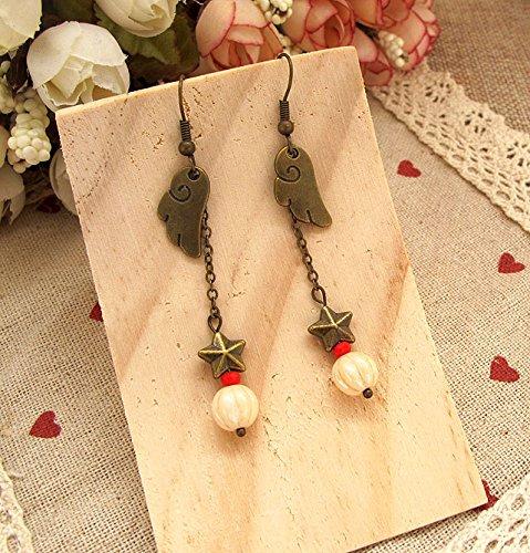 Custom retro soft sister wings earrings star earrings Czech glass beads earrings simple wild female models without pierced ear clip