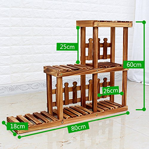 Multi - layer solid wood anti - corrosion flower rack living room balcony pastoral wooden flower rack