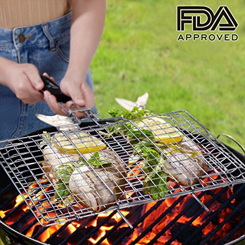 WolfWise Portable BBQ Grilling Basket FDA Approved 430 Stainless Steel Removable Wooden Handle