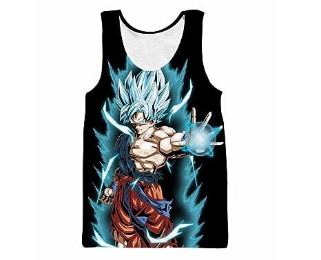 55c63af1f7a Dragon Ball Z Super Saiyan Goku Vegeta Sleeveless T-Shirt Tees Crewneck  Vest Top (