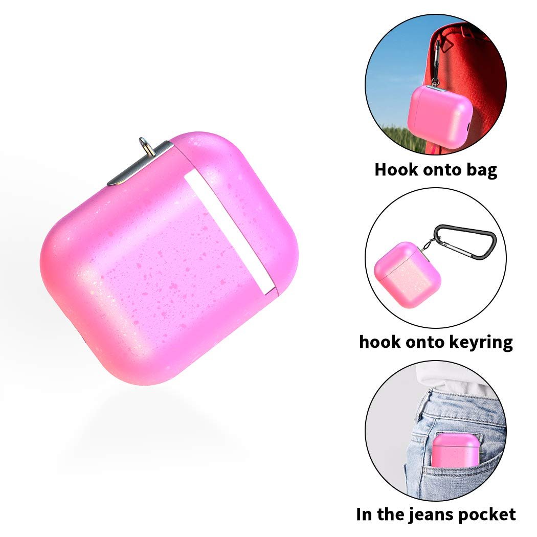 Airpods Case, AOJI Airpod Case Cover, Stylish Sparkling Changing Hue with Patented-Design Clip, Hard Shell, Compatible with Apple Airpods 1 & 2, Pink