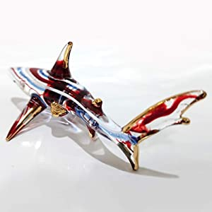 Sansukjai Red Blue Shark Figurines Animals Murano Glass Hand Blown Glass Art Gold Trim Collectible Gift Decorate 4""