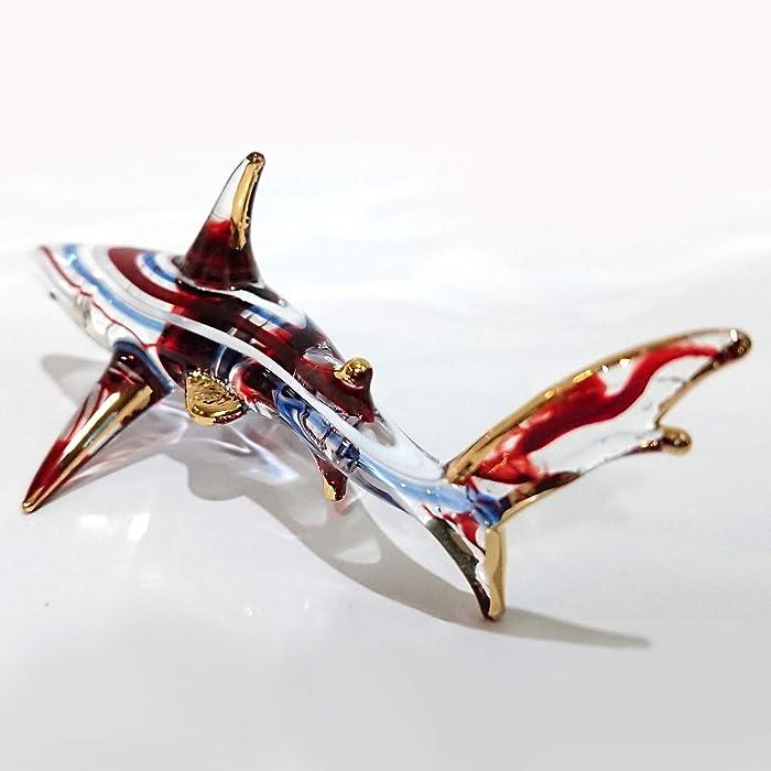 "Sansukjai Red Blue Shark Figurines Animals Murano Glass Hand Blown Glass Art Gold Trim Collectible Gift Decorate 4"""