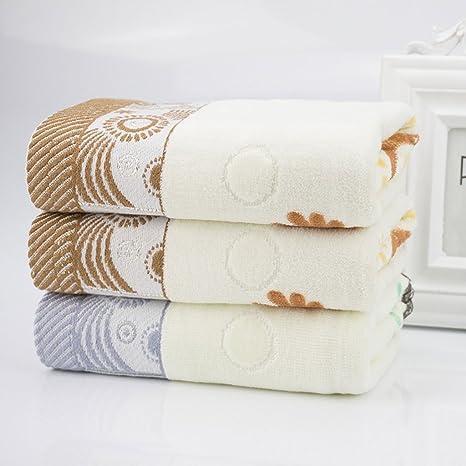 Longwei Toalla de algodón Burton Patrón de Borde Satinado Toalla para el hogar para Adultos Secado