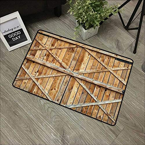 Bathroom Anti-Slip Door mat W16 x L24 INCH Rustic,Traditional Wooden Timber Door with Vertical and Planks Farmhouse Antique Photograph,Brown with Non-Slip Backing Door Mat Carpet ()