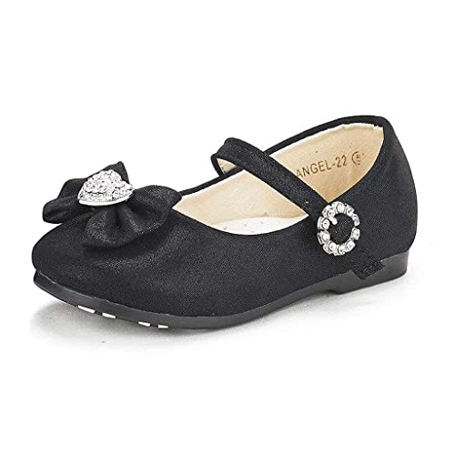 65c4f61ebc28 Dream Pairs ANGEL-22 Mary Jane Front Bow Heart Rhinestone Buckle Ballerina  Flat (Toddler