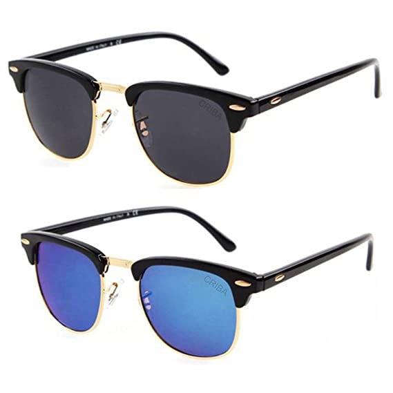 7390f4eabecfb 2019 Latest Stylish Black   Blue combo Clubmaster sunglasses for Men and  Women (Pack of 2) BY Arzonai  Amazon.in  Clothing   Accessories