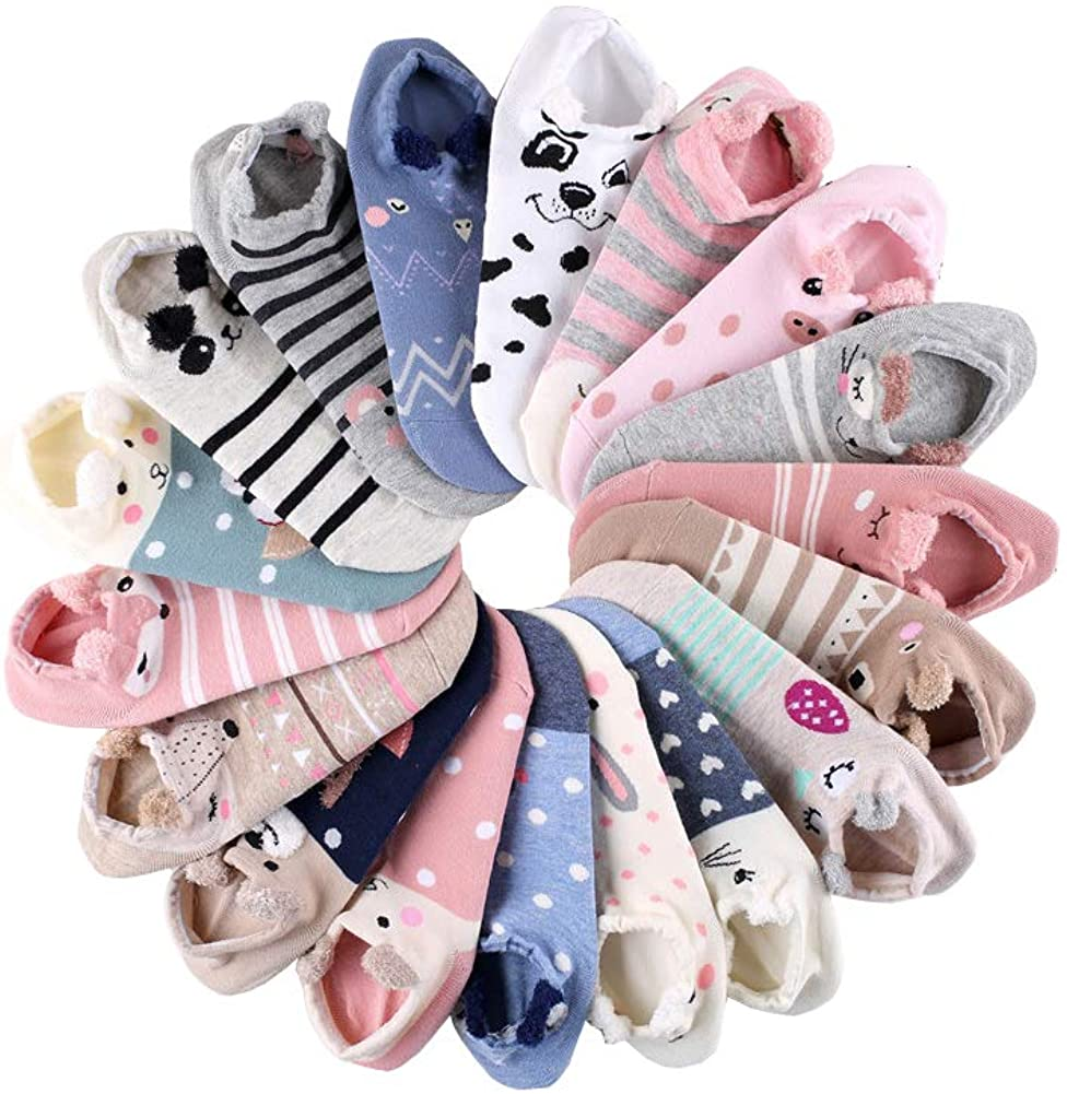 18 Pairs Novelty Animal Cotton Low Cut No Show Ankle Socks for Girls Women Boat Socks