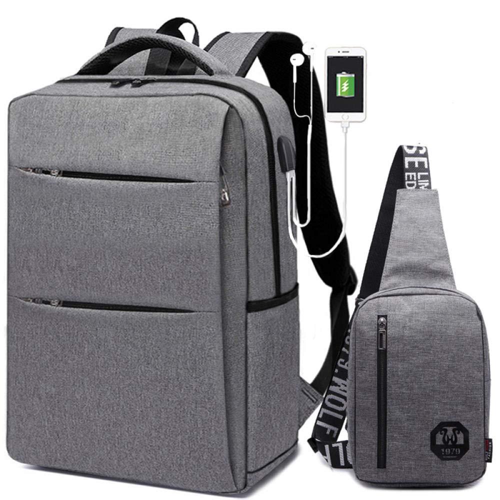 gris D  CHAOBAOBAO Sac à Dos d'affaires pour Hommes Charge USB Sac Messenger Sac de Voyage Décontracté Sac étudiant Simple Mode Sac d'ordinateur