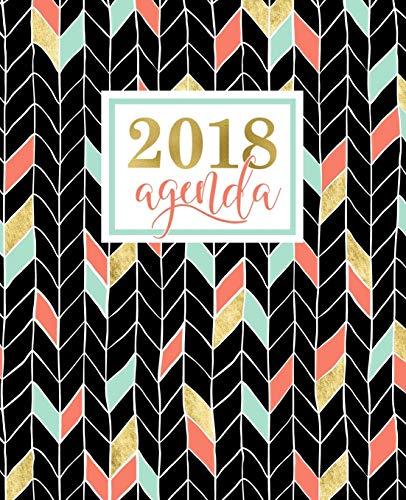 Agenda: 2018 Agenda Settimanale Italiano: Oro, Corallo E Motivo a Zigzag Verde Menta: 19x23cm