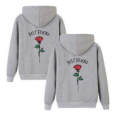 845f9a059efd Beste Freunde Kapuzenpullover für Zwei Damen Friends Pullover Sweatshirts  Partner Look Damen Sweatshirts Sister Rose Pulli