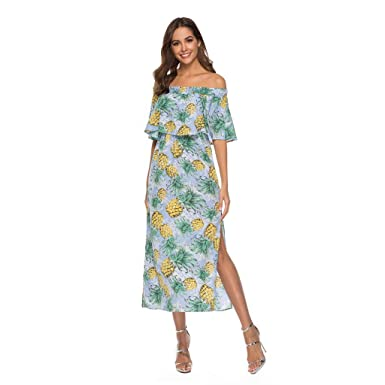 71dda9d8a1 Ladies Dresses Off The Shoulder Ruffle Beach Dresses Split Pineapple Print  Flowy Party Maxi Dress at Amazon Women s Clothing store