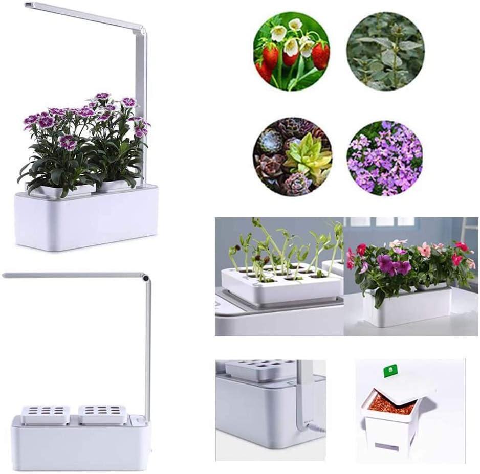 LSHOME Sistema de Cultivo Hidropónico de Jardín de Hierbas para Interiores con luz de Crecimiento LED Cultive hasta 18 Plantas en 25 a 40 días Kit de Jardín Inteligente para Flores Frutas Verduras