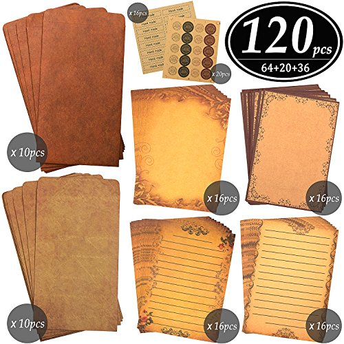 CenterZ Vintage Stationary Paper + Kraft Envelopes Set with Seal Stickers, 64pcs 4 Patterns 8.3 x 5.7 Writing Stationery Papers + 20pcs 2 Colors 7.9 x 4.7 Letter Envelope + 36pcs 2 Styles Rustic Seals by CenterZ