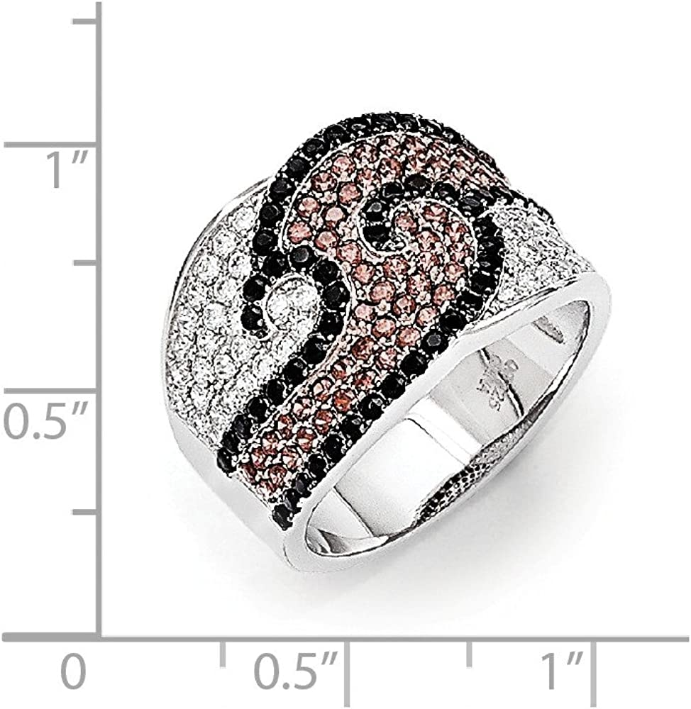 Sterling Silver and CZ Brilliant Embers Ring Size 7