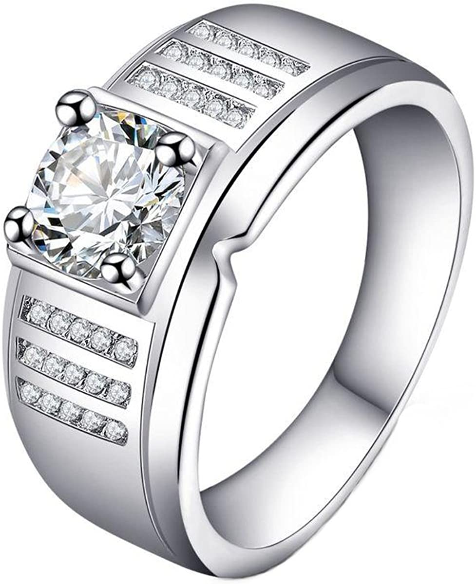 Jalash 14k White Rhodium Plated Cz Solitaire Mens Pinky Ring