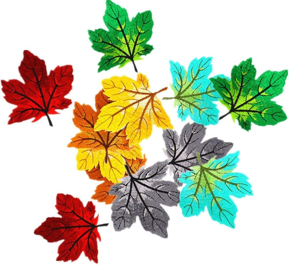 10 Maple Leaf Embroidered Patches Sew//Iron On Applique For Jeans Pants Shoes