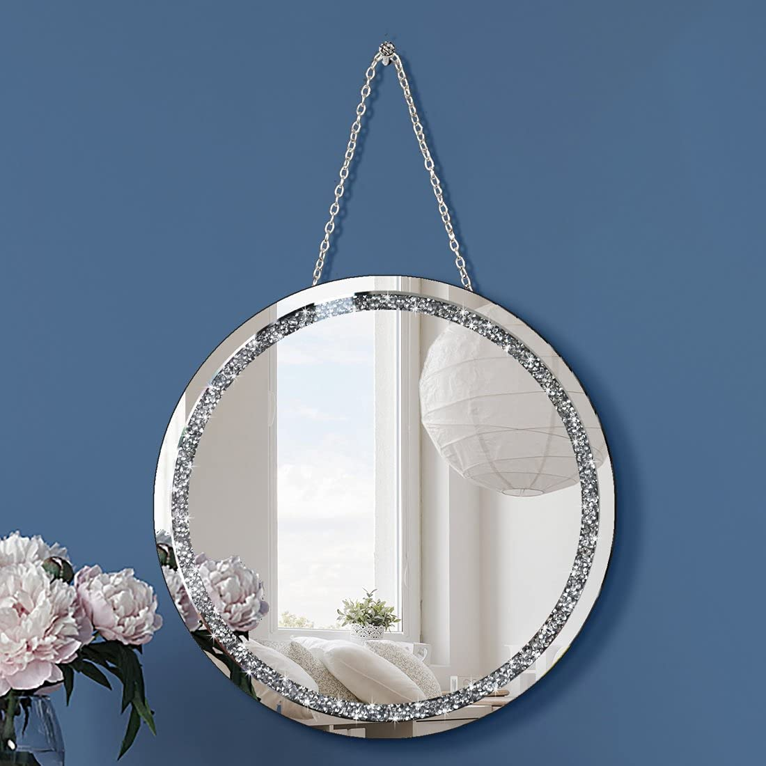 Crystal Crush Diamond Round Silver Mirror with Iron Chain for Wall Decoration Diameter Circle 12 inch Wall Hang Frameless Mirror Small Handicraft Art