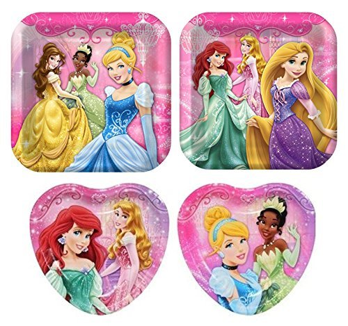 32 Pc Disney Princess Birthday Party Plate Bundle - 16 Dinner and 16 Dessert (Princess Themed Birthday Party)