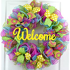 Summer Spring Welcome Door Wreath; Pink, Turquoise, Yellow, Green : P1 1