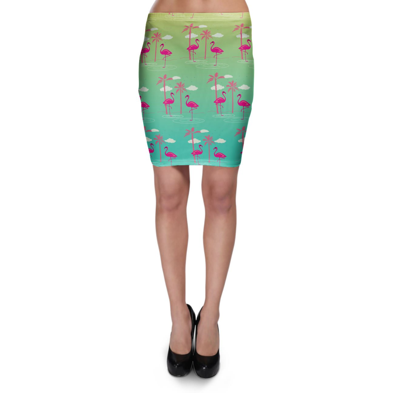 Flamingos in Sunglasses Bodycon Skirt - XS