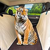 Dog Car Seat Cover: Hair Free Rear Bench! Convertible Beige Hammock Shaped Comfort Accessory for Cars - SUVs - Trucks & Carriers. Waterproof - Nonslip - Washable Pet Backseat Protector - Pets Blanket & Bag