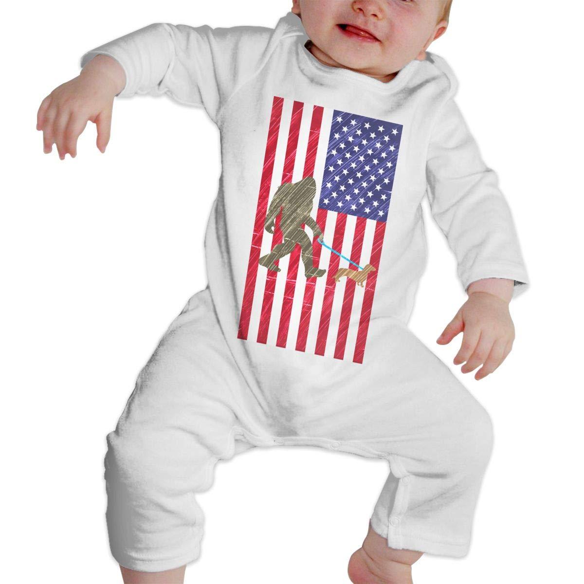 Infant Baby Boys Girls Cotton Long Sleeve Bigfoot Walking Dachshund in American Flag Romper Bodysuit Romper Clothes