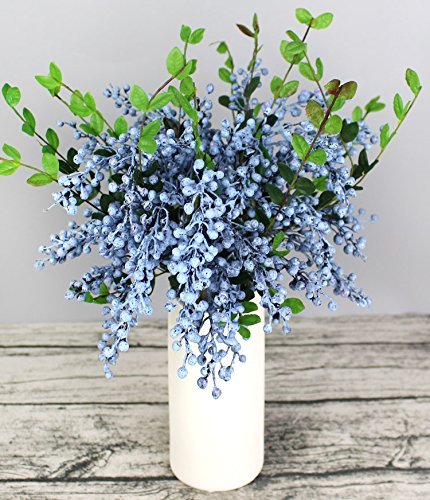 Htmeing Artificial Christmas Berry Twig Stem,21.6 Inch,Set of 4 (Blue)
