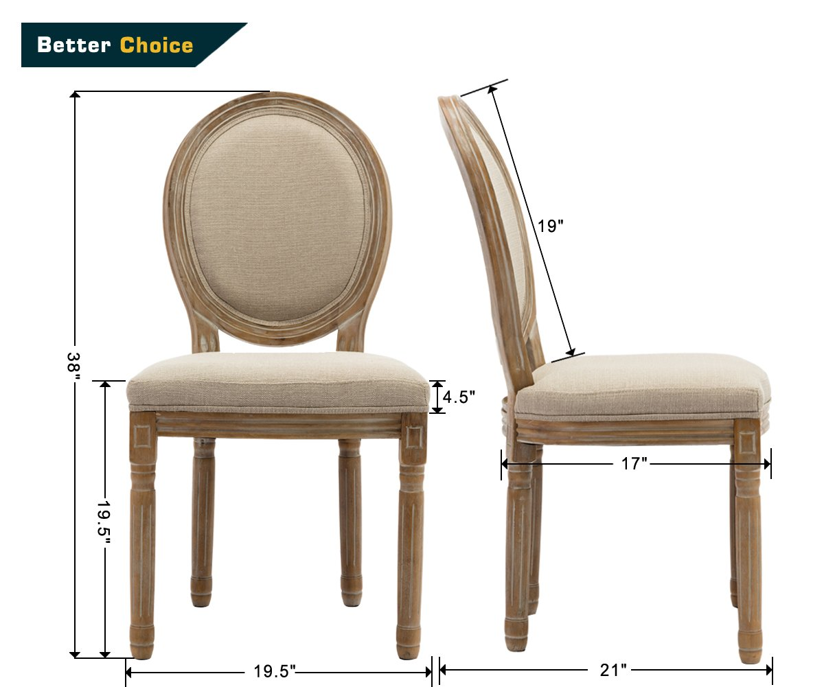 French Retro Dining Chairs, Distressed Wood Chairs with Round Back, Upholstered Linen Kitchen Chairs for Dining Room Living Room Bedroom, Set of 2 Cream