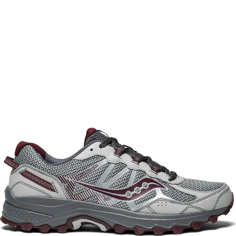 Saucony Men's Excursion TR11 Running Shoe, Grey/Burgundy, 10.5 Medium US by Saucony