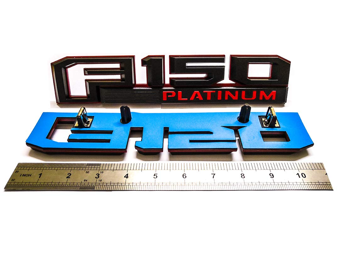 3x F150 Platinum Black /& Red Fender Tailgate Emblems Badge 3D Nameplate Replacement for 2015-2017 F-150 Original Size