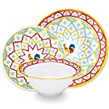 Q Squared Porto Chalé 12-Piece Professional Grade, BPA-Free, Shatterproof, Melamine Dinnerware Set, Many Collection Options
