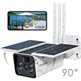 【2020 Upgrated】 Wireless Outdoor Security Camera, WiFi 1080P Solar Security Camera 10400mAh Rechargeable Battery, PIR Motion