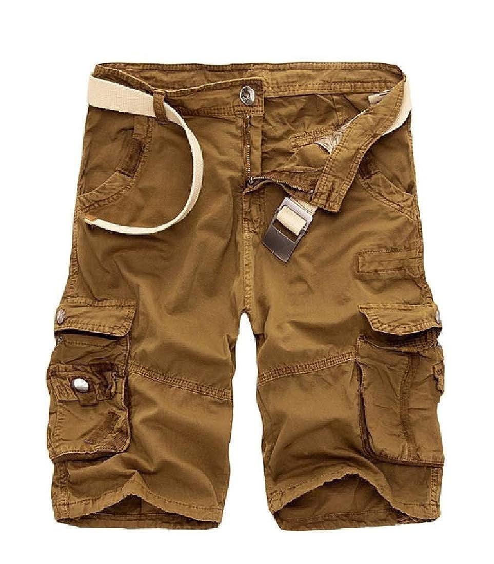 Etecredpow Men Sports Straight Leg Cargo Multi Pocket Mid Waist Short Pants