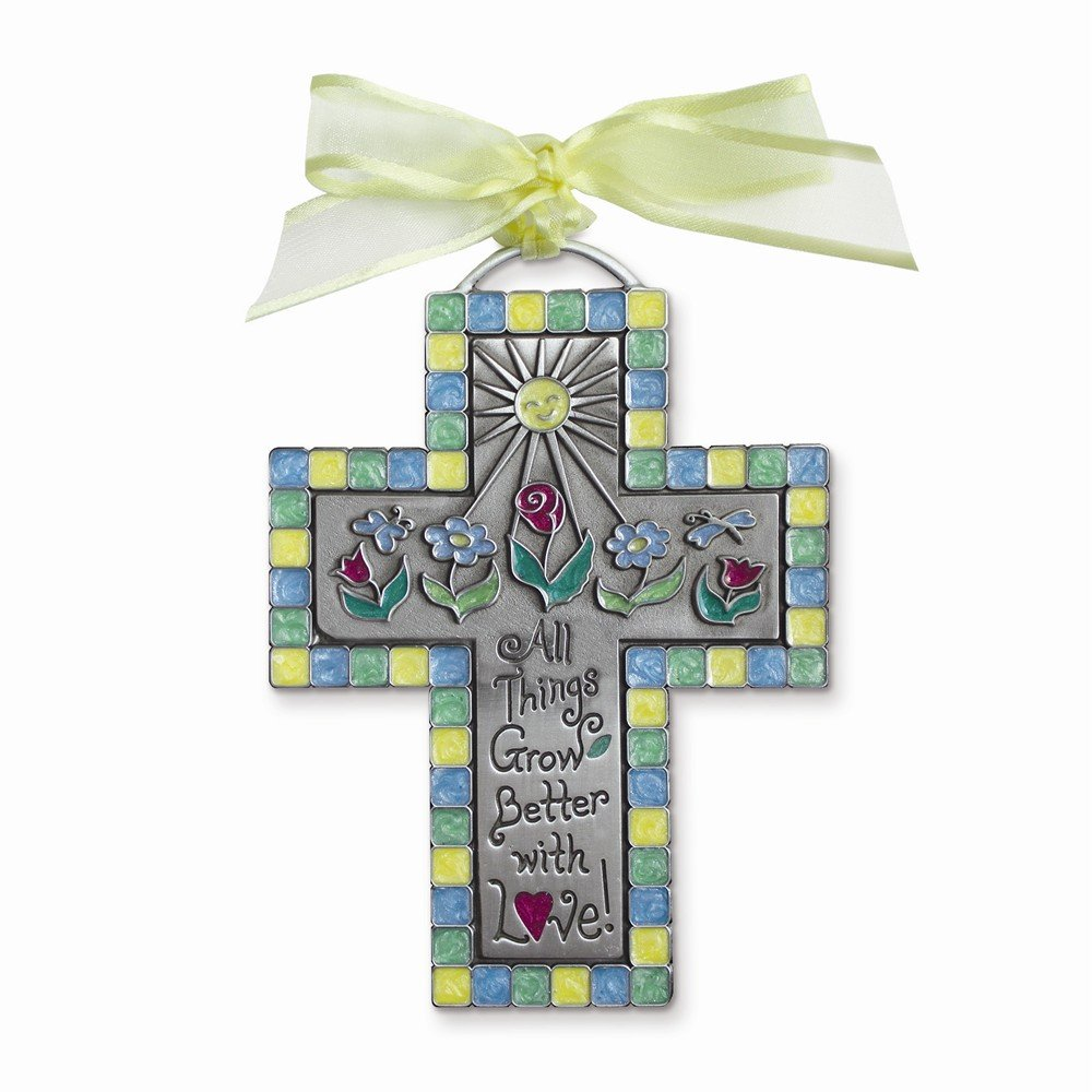 Perfect Jewelry Gift All Things Grow Better with Love Childrens Cross