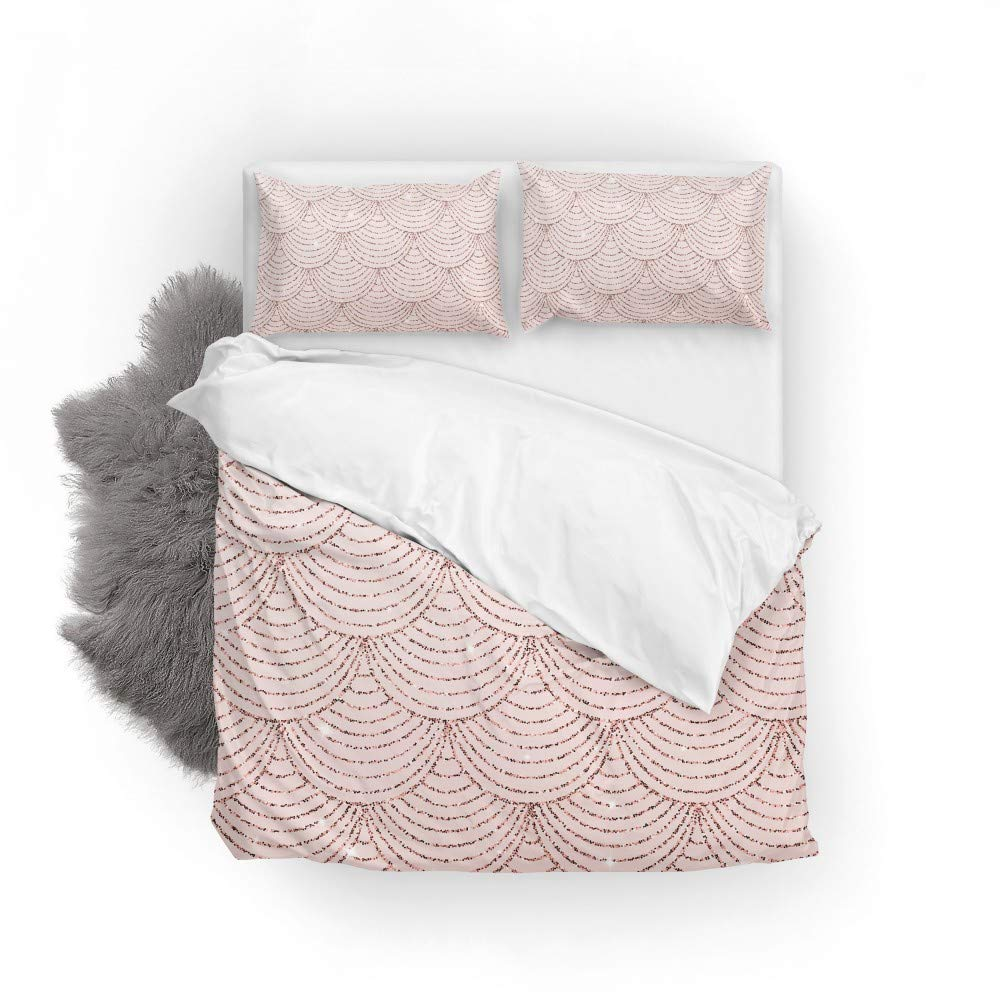 1 Duvet and 1 Pillow Sham ColourLife Duvet Cover Sets Rose Gold Print Glitter Mermaid Scales Soft Microfiber Comforter Protector Set 2 PCS Bedding Set Twin Size 66 x 90 Inches