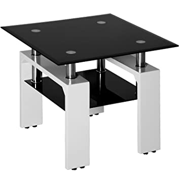 Merax Glass Coffee Table Sofa Side Table Square End Table With Glass Top And Wooden Legs