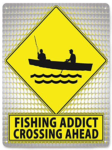 Fishing addict METAL street Sign funny mancave gift / bait shop wall decor art 150